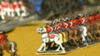 Lines of toy cavalry soldiers.