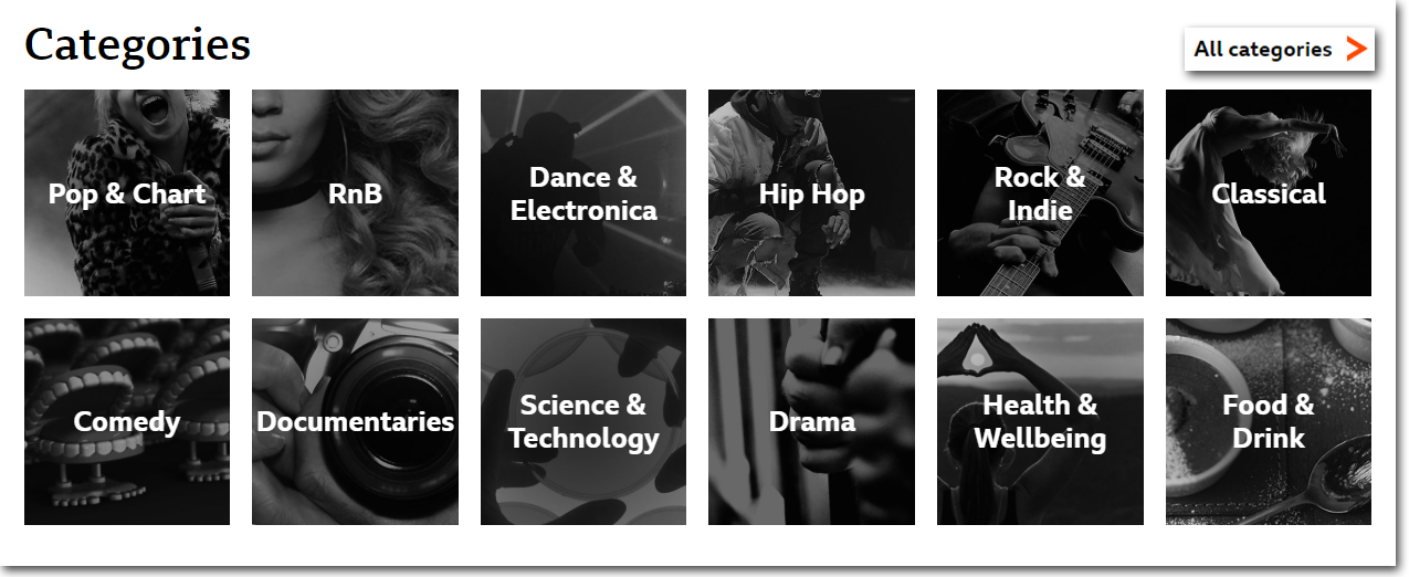 Categories section on BBC Sounds website