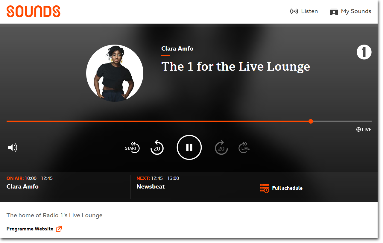 Playback screen on BBC Sounds website for a live programme showing playback controls