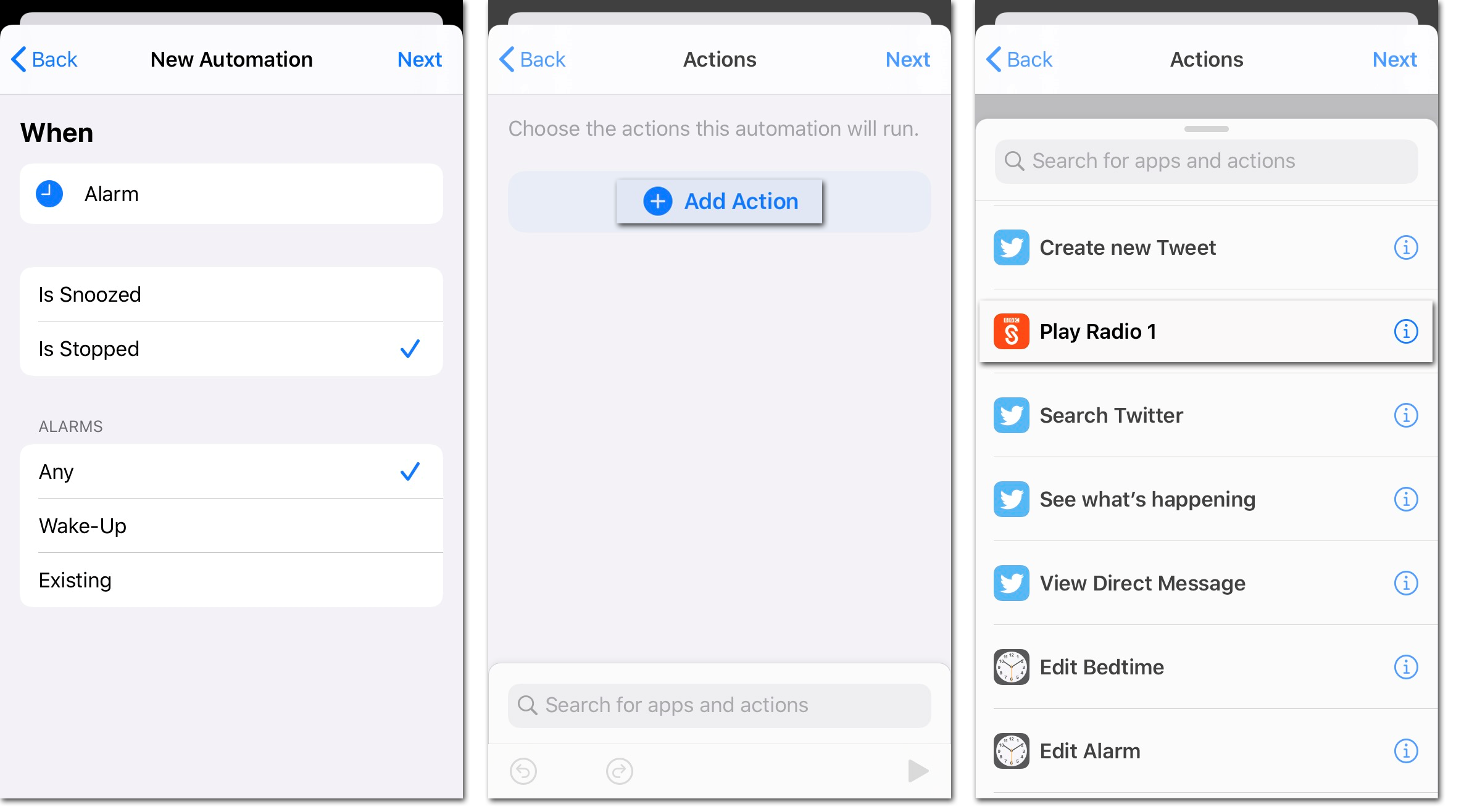Three screenshots of Apple's Shortcuts app showing how to create an Automation