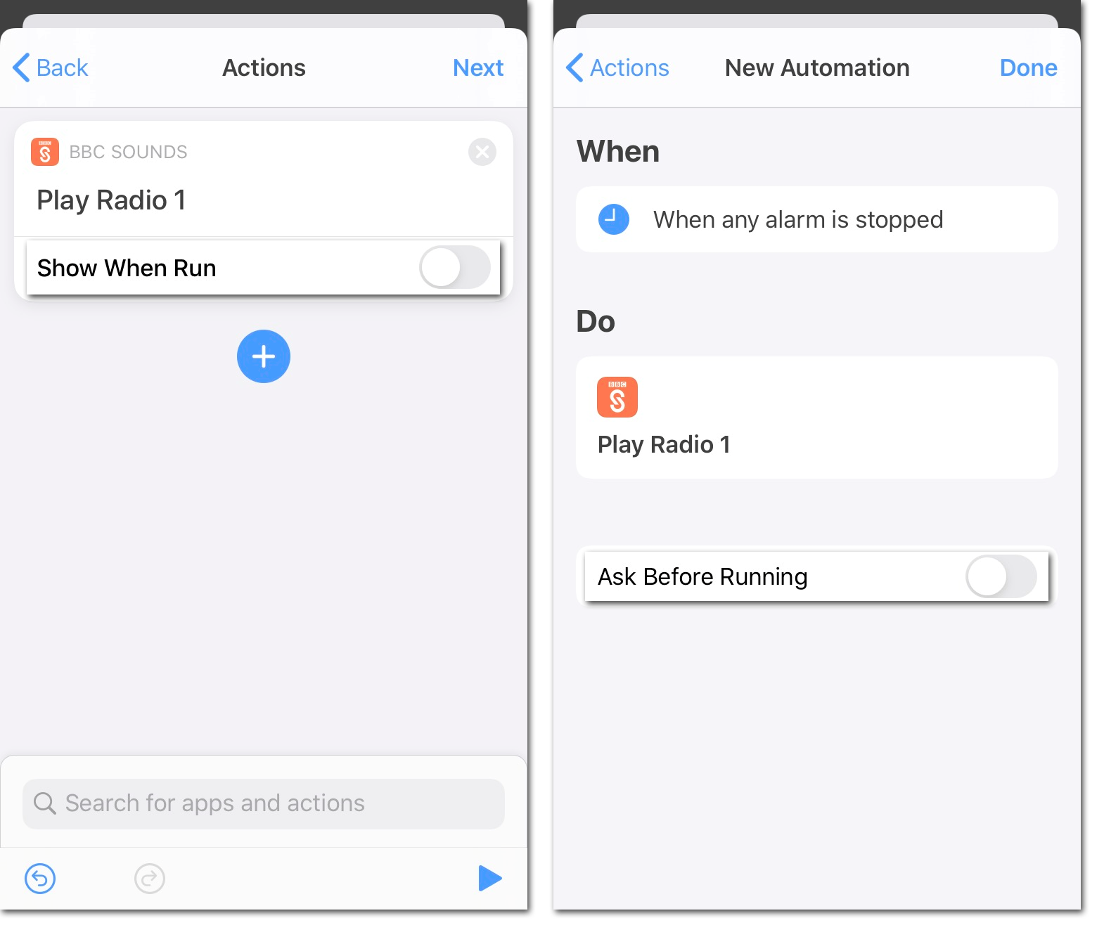 Two screenshots of Apple's Shortcuts app showing how to finalise setting up an Automation