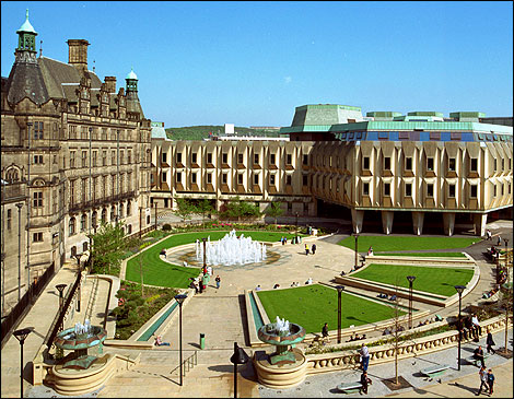 Sheffield town hall peace garden and eggbox pre 2001