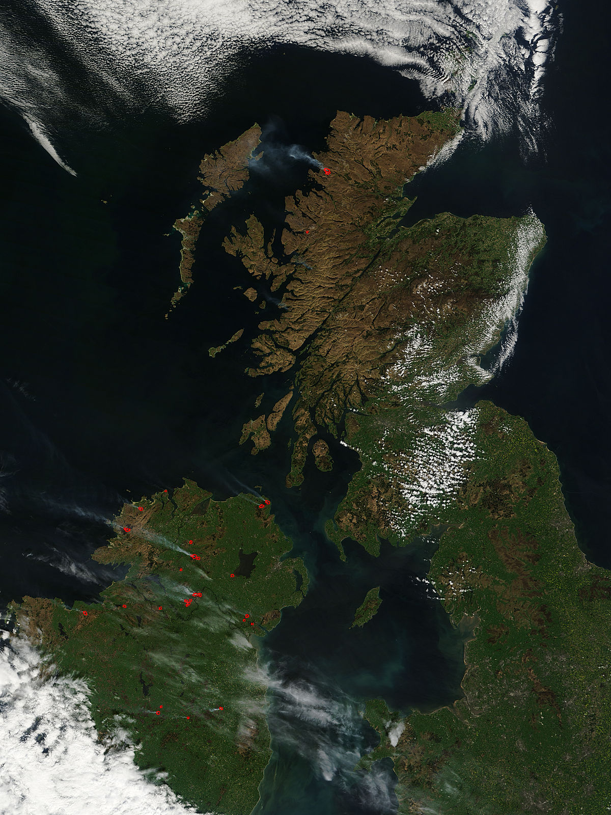 Satellite image of fires in northern ireland and scotland
