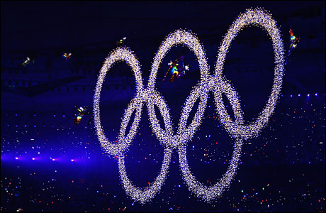 The Olympic rings during Beijing opening ceremony