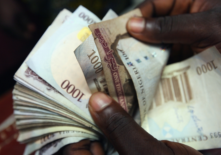 Nigerian naira notes being counted