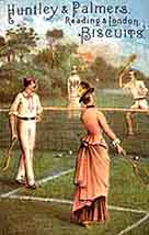 Colour illustration showing mixed doubles on a Victorian lawn, c.1878