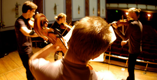 Meta4 Quartet from Finland rehearsing at the Wigmore Hall for a live concert on BBC Radio 3.