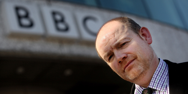 BBC Director General Mark Thompson outside Television Centre, London.