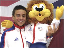 Tom Daley with Team GB Mascot Lion