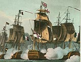 A British ship crosses the battle line of the Combined French and Spanish Fleet
