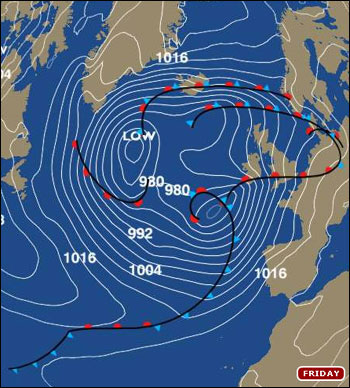 The Met Office's pressure chart for Friday shows a deep area of Low Pressure brewing SW of the British Isles