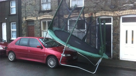 A flying trampoline spotted in Bala today by Dylan Vaughan Evans.