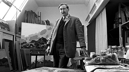 Black and white image of Kyffin Williams in an art studio, taken in 1966
