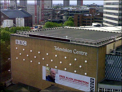 Alan Johnston banner on Television Centre
