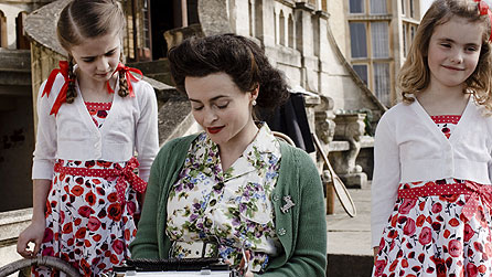 Enid Blyton, played by Helena Bonham Carter, with daughters Gillian (Sinead Michael) and Imogen (Ramona Marquez)