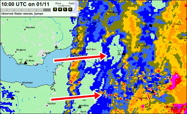 Rainfall radar, West Country, 10 am Sunday 01 November 2009 (via Met Office MBS System)