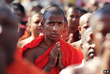 Buddhist monks in Sri Lanka from the hardline group Bodu Bala Sena