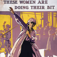 women at work ww1 Examples of vintage world war 1 propaganda posters with women pictures of women in ww1 art used for liberty war bonds, recruitment of soldiers, weapons, & the red cross.