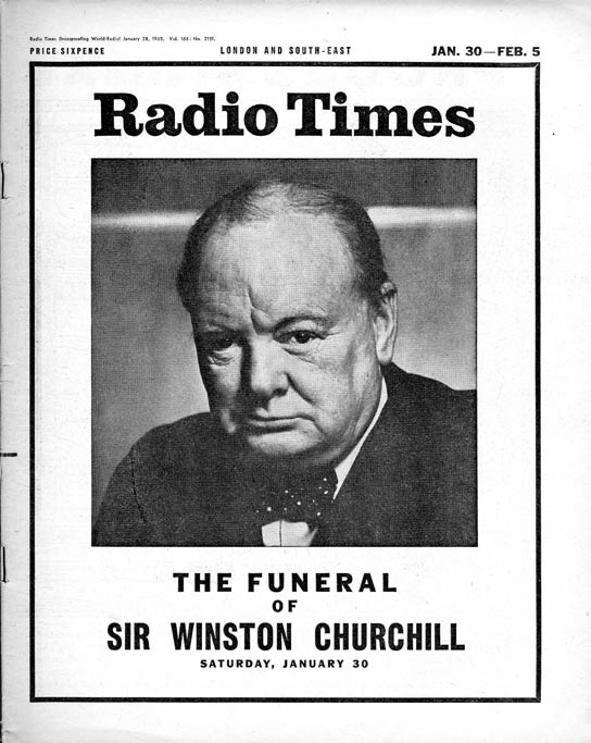 Page 1 of Radio Times for Winston Churchill's Funeral.