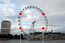 Image 1 shows the London Eye positioned in the centre of the photograph