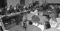 Secretary of State George Marshall (right) faces the Senate Foreign Relations Committee on 8 January 1945 to argue for aid to Europe