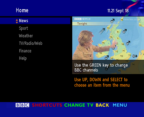 BBC Text homepage from 2000