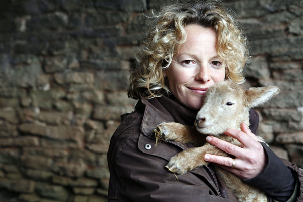 Kate Humble and one of the lambs