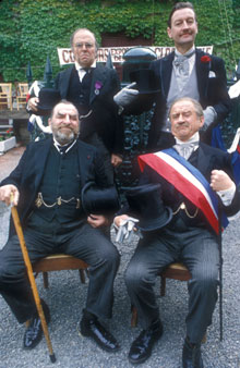 Kenneth Griffith, Aubrey Woods, Hugh Griffith and Cyril Cusack in the 1971 BBC drama Clochemerle