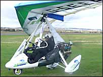 Miles Hilton-Barber in his microlight prior to take-off