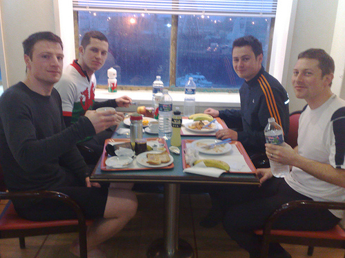 The boys tuck in ahead of the final push to Paris