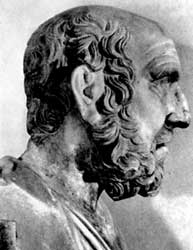 Head of a statue of Hippocrates (c.460-370 BC), the ancient Greek doctor and philosopher.