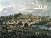 Vivares painting of Coalbrookdale showing the old furnace