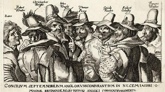 Unattributed engraving of Guy Fawkes and fellow conspirators of the Gunpowder Plot, 1605