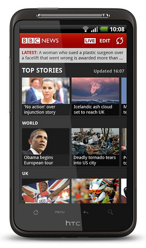 BBC News on an Android phone