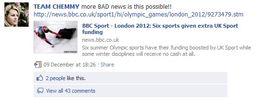 Screengrab from Chemmy Alcott's Facebook page
