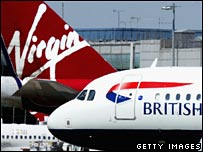 Virgin and British Airways planes