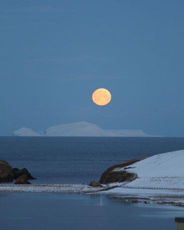 The moon setting over the island of Foula, courtesy of Anne Anderson.