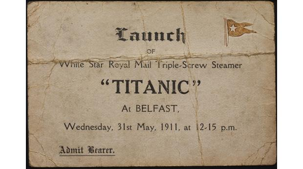 Titanic Launch Ticket. Copyright National Museums Northern Ireland