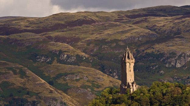 The National Wallace Monument near Stirling, set against hills