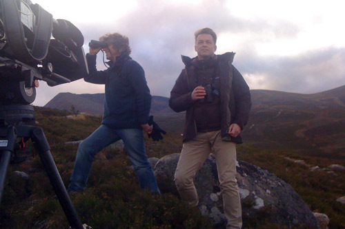 Martin Hughes-Games and Chris Packham in the Highlands