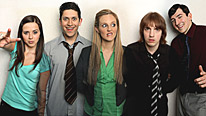 (L-R) Rachel Rae plays Shelley, Abdullah Afzal plays Asif, Jessica Hall plays Tania, Christian Foster plays Kenny and Chris Hannon plays Darrel