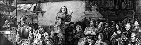George Fox, founder of the Society of Friends, preaching in a tavern c.1650 (Image: PA)