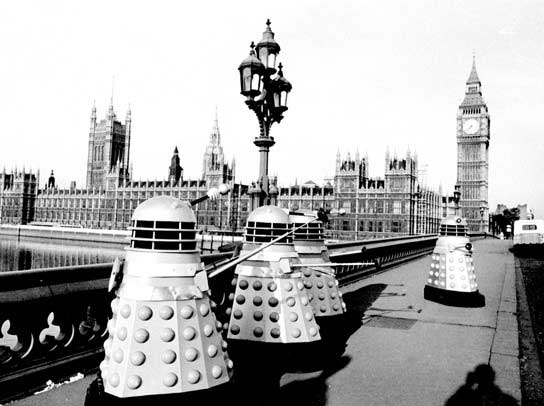Daleks crossing Westminster Bridge.