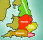 By around AD 600 there were five important Anglo-Saxon kingdoms. They were Northumbria, Mercia, Wessex, Kent and East Anglia.