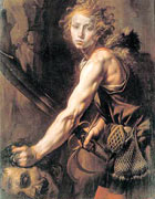 A young warrior David, muscled with a sword and slings and pouches at his belt, with a hand on Goliath's head