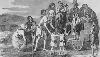 Distress caused by the famine at Kilrush, Ireland, in 1849