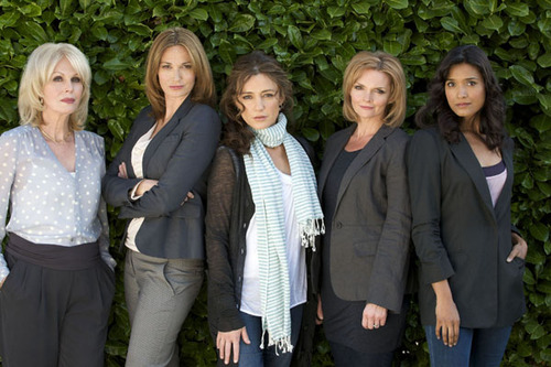 Joanna Lumley on the far left with the cast of Mistresses