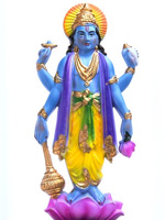 Vishnu, depicted as a blue-skinned man with four arms standing on a lotus flower