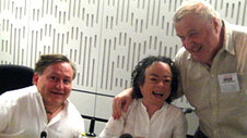 Simon Minty, Liz Carr and Kevin Mulhern in the studio
