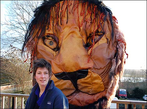 Michelle with the lion